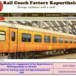 Rail coach factory recruitment 2020 notification out